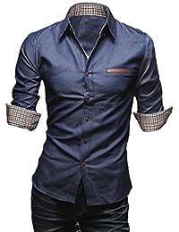 [50dB] メンズ カジュアル シャツ 7分袖/長袖 3色展開(ブラック/ブルー/ネイビー)