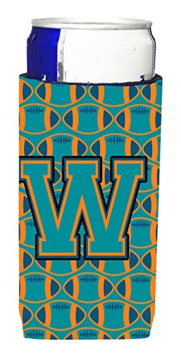 柱存在処分した文字W Footballアクア、オレンジと超Beverage MarineブルーInsulators forスリム缶cj1063-wmuk