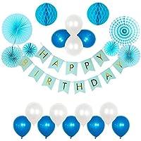 豪華35点 風船 誕生日 飾り付け バルーン セット ブルー系 HAPPY BIRTHDAYガーランド ペーパーファン ペーパーポンポン バースデー パーティー デコレーション 装飾