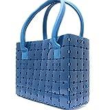 CHANEL(シャネル) 美品 パズル ハンドバッグ プラスチック ブルー レザー ココマーク トートバッグ 青 (中古) バッグ レディース レア
