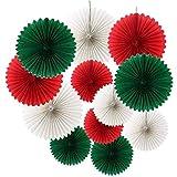 iSuperb ガーランド クリスマス 12点 団扇 飾り付け セット デコレーション 部屋/店舗/パーティーなどの装飾 (12点)