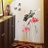 絵画のスタイルロータスフラワー中国のリビングルームのベッドルームのリムーバブルエコドアの壁のステッカーのステッカー装飾アート壁画