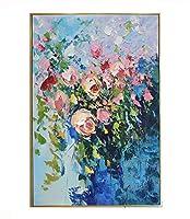 油絵花バラ3D手描きキャンバスに厚いテクスチャオイルナイフ絵画抽象リアリズムアートワークぶら下げ壁アート装飾現代抽象絵画,80x120cm/31x47''