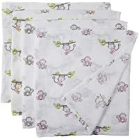 Bacati Set of 4 Happy Monkeys Muslin Swaddling Blankets Pink/Purple/Grey [並行輸入品]