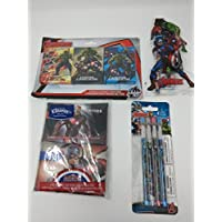 Back to School幼児用pre-school Elementary School Supplies Avengers Tissuesクレヨン鉛筆定規消しゴム削り器Bundle of 4