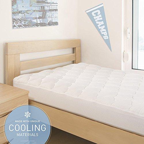 マットレスパッドwith Fittedスカート|低刺激性トッパーfor College寮ベッド|アメリカ製|ツインXL–冷却ブレンド枕Top