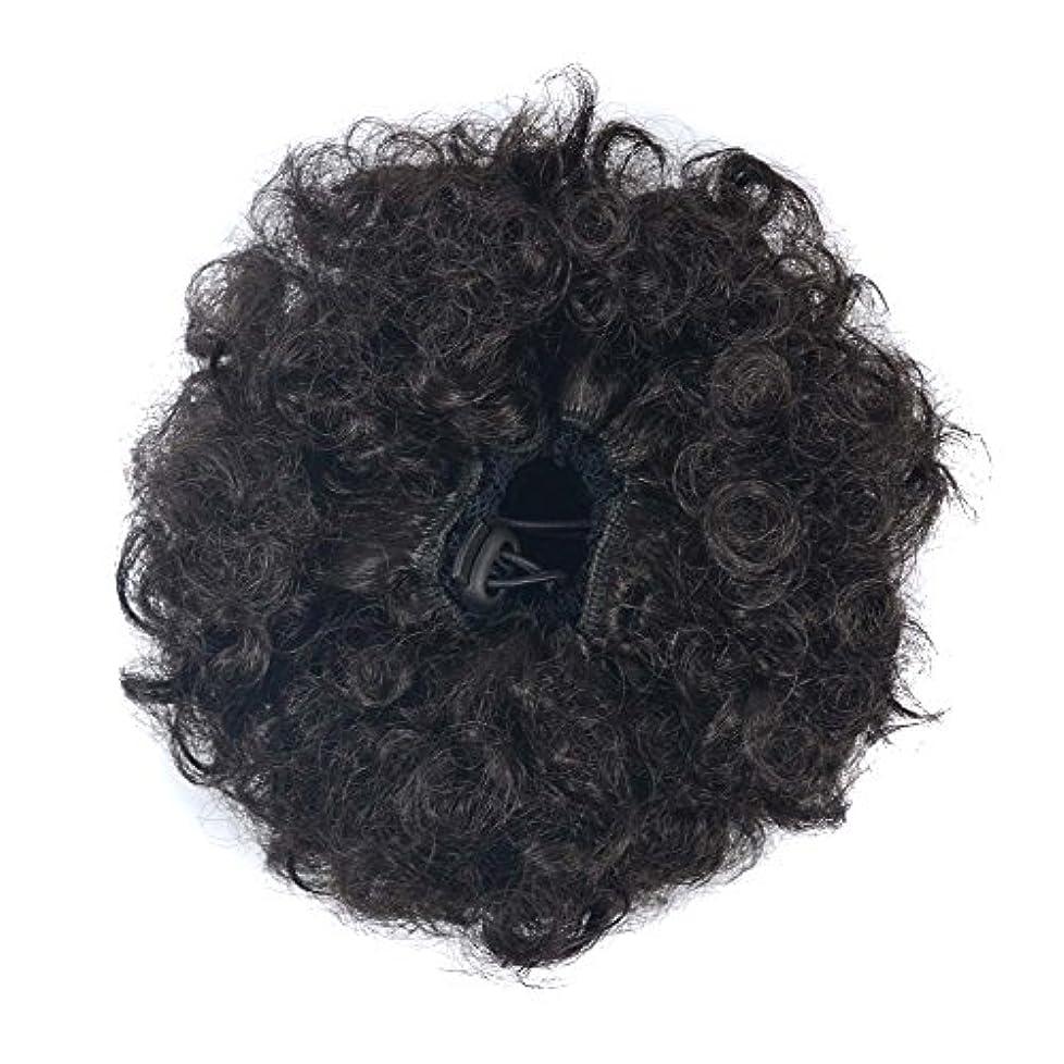繰り返したマウント事JIANFU 爆発ヘッドふわふわ毛髪の拡張子カールヘアの毛の拡張子キャタピラーのかつらのサイズ選択ウィッグの部分 (Color : Brownish black(S))