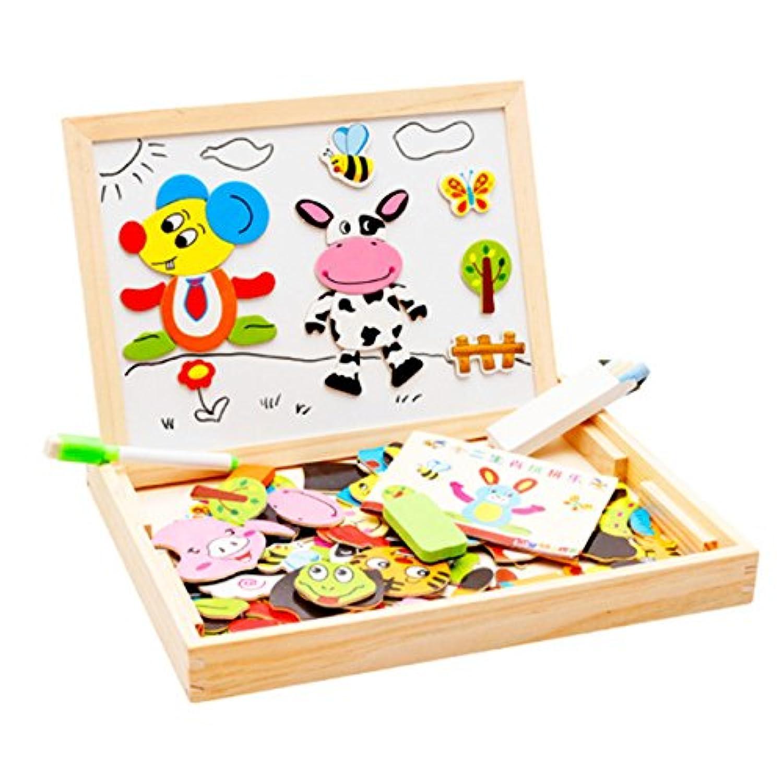 PTB 木製磁気パズル 型はめ 知育玩具 絵かきボード 両面描画ボード 子供用パズル 認識力 創造力 自由に組み合わせ 動物パターン