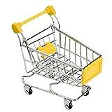 Parrot Mini Supermarket Handcartショッピングユーティリティカートインテリジェンストレーニングおもちゃペット鳥トロリーイエロー