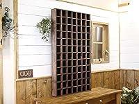 シェルフ 木製ひのき マス目シェルフ コレクションシェルフ ディスプレイボックス マス目棚 裏板付き 64×9×109cm ダークブラウン 受注製作