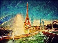 数字で絵を描く大人子供初心者Diyオイル描画ギフトキットキャンバスアートホームデコレーション噴水塔風景ブラシフレーム50x60cm