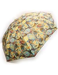 NOBEL[ノーベル] 折りたたみ雨傘 レディース 雨傘 折畳傘 婦人 日本製 国産品 蝶ハナ柄 軽量 オレンジ