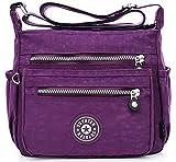 EFFECT ショルダー バック 2WAY 多機能 斜め掛け 鞄 収納 抜群 防水 かばん (紫色)