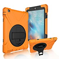 iPad 2/3/4 Back Case, DIGIC Hybrid PC Silicone Armor Defender Cover with Hand Strap 360 Degree Rotation Stander Full Protective Tablet Shell for Apple iPad 2/3/4, Orange