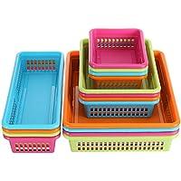 明るいプラスチックオーガナイザートレイ – 16パック – カラフルなフラットストレージビンコンテナ、モジュールバスケットホルダー引き出し用、棚、デスクトップ、クローゼット、Playroom、オフィス、More – Assorted色とサイズ