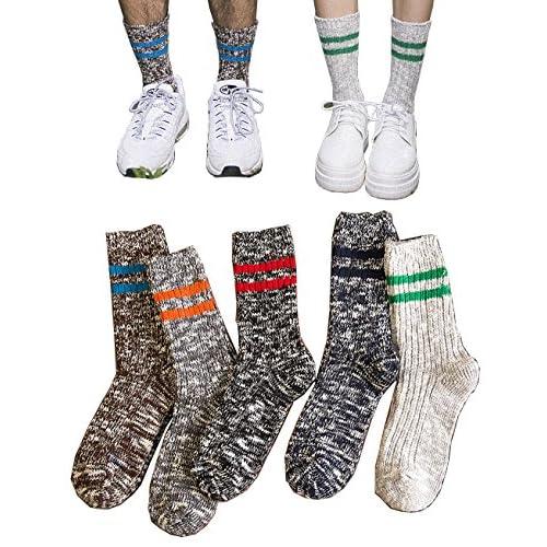 (ニュートゥ) NEWTOメンズレディース 綿 男女兼用 ファッション カップルソックス 冷え取り靴下 5足セット1