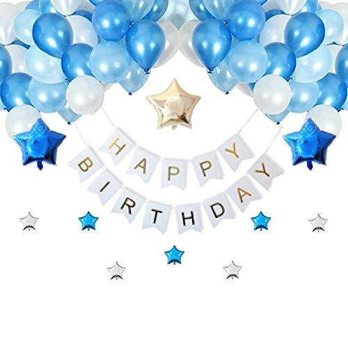 [スリール] 誕生日 飾り付け バルーン (Happy Birthday) 豪華 光沢 風船 装飾 セット ポンプ クリップ 付き (ブルー)