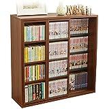 アイリスオーヤマ 本棚 コミック ラック 大容量 スライド棚 ダブル 幅約90×奥行約29.2×高さ約92.2cm ブラウン CSD-9090