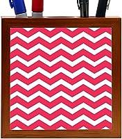 Rikki Knight Chunky Chevron Tropical Pink Zig Zag Design 5-Inch Tile Wooden Tile Pen Holder (RK-PH44676) [並行輸入品]