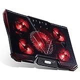 RooLee ノートパソコン 冷却パッド 冷却台 ノートPCクーラー クール 超静音 USBポート2口 USB接続 LED搭載 高度七段調節可 風量調節可 17インチ型まで対応 5ファン PS3 PS4