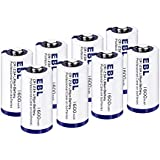 EBL CR123A リチウム電池 1600mAh 8個 3V 非充電式バッテリー カメラ 懐中電灯 マイク 測光計 適用 保管ケース付き