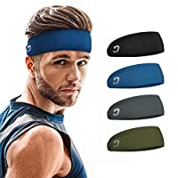 Vinsguir Sports Headbands for Men and Women (4 Pack) - Non Slip Lightweight Sweat Band Moisture Wicking Workout Sweatbands for Running, Cross Training, Yoga and Bike - Unisex Hairband