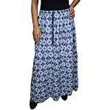 Womens Bohemian Skirt Ludovica Blue Geometric Swirling Full length Cotton Skirts Large