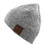 ワイヤレススマートヘッドセット高度なニット帽子男性と女性ヘッドフォン音楽暖かい帽子,Gray