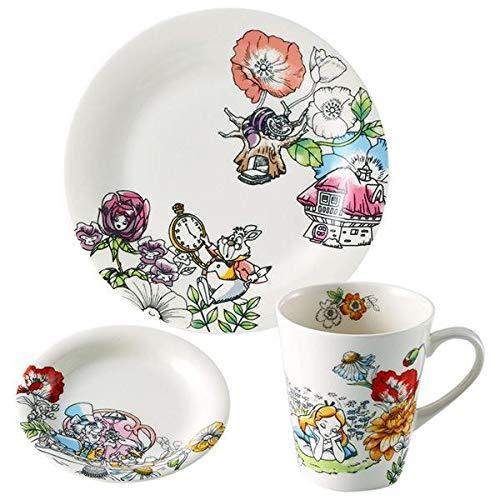 大人可愛い、ふしぎの国のアリスのテーブルウェアセット Disney(ディズニー) ふしぎの国のアリス モーニングセット (マグ・小皿・ケーキプレート) D-AL01 46198 〈簡易梱包