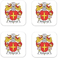 Melgarejo家紋コースター正方形紋章コースター–4のセット