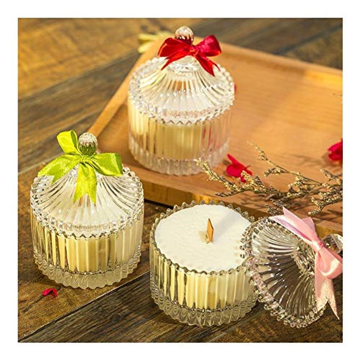 彫刻下手漏斗ACAO 大豆の香料入りの蝋燭の無煙ガラスの蝋燭の結婚祝い (色 : Lavender)
