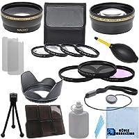 Pro Series 58mm 0.43X広角レンズ+ 2.2X望遠レンズ+ 3個入りフィルタセット+ 4pc Close Upレンズ+レンズフードwithデラックスレンズアクセサリーキットfor Olympus E - 620W/14–42レンズ& e-pm2W/40–150mmレンズ