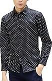 【four clover】メンズ 長袖シャツ ドット 白 黒 水玉 ?爽やか トップス 春 夏 カジュアル オシャレ カッコいい エコバッグ付き