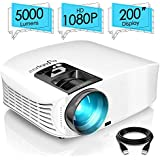 "ELEPHAS PRO610 Projector, [2018 Version] with 200"" 720P LCD Video Projector Support HDMI VGA AV USB Micro SD Ideal for Home Theater Entertainment Party and Games, White"