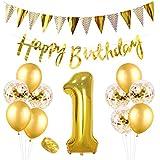 誕生日飾り付け 1歳 ゴールド 数字1 紙吹雪入れ ラテックスバルーン 三角 happy birthdayバナー シャンパンカラー 女の子 100日 誕生日 ベビーシャワー飾り 部屋装飾