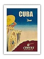 キューバ - クバーナ航空S.A。 - ビンテージな航空会社のポスター c.1949 - プレミアム290gsmジークレーアートプリント- 30.5cm x 41cm