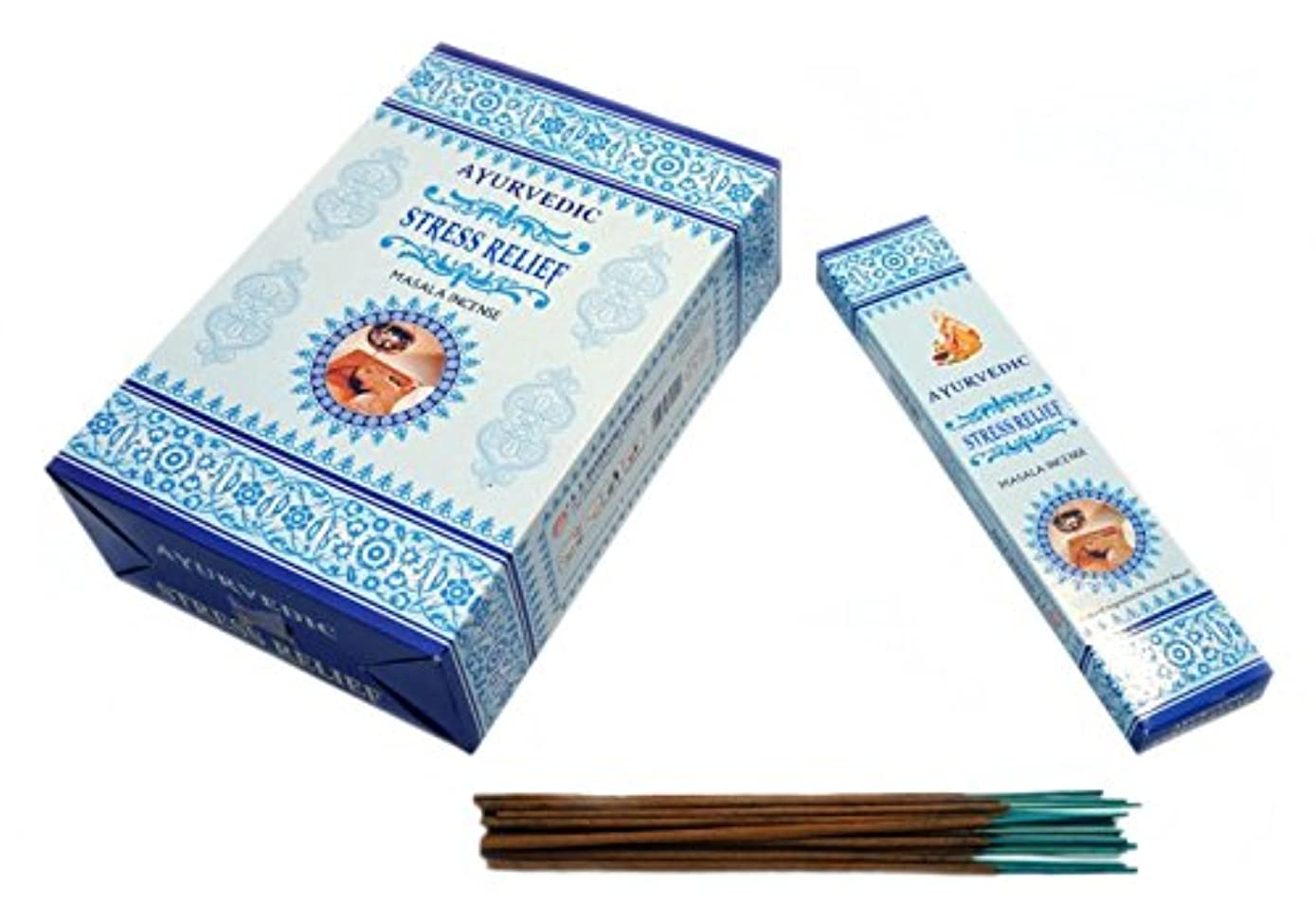 藤色静かなブッシュAyurvedic Stress Relief Masala Incense Sticks Agarbatti (12パックX 15 Sticks各)