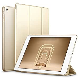 iPad Mini ケース クリア ESR iPad Mini2 ケース レザー PU iPad Mini3 ケース 軽量 スタンド機能 傷つけ防止 オートスリープ ハード三つ折 iPad Mini3/2/1(初代第二三世代)専用スマートカバー(ゴールド)
