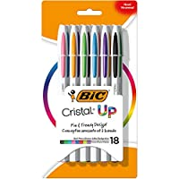 Bic Cristal Upボールペン, Medium Point, Assorted Colors, 18-count