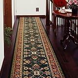 廊下敷きカーペット ベルギー製廊下用絨毯 (グリーン) 幅66cm×長さ340cm
