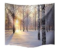 "A Monamour Birchツリー冬ホワイト雪フォレストSunshine景色写真印刷ファブリック壁のタペストリー壁装飾寝室Dorms 203(Length)x153(Width) cm/80""x60"" PTDPWT-031-3"