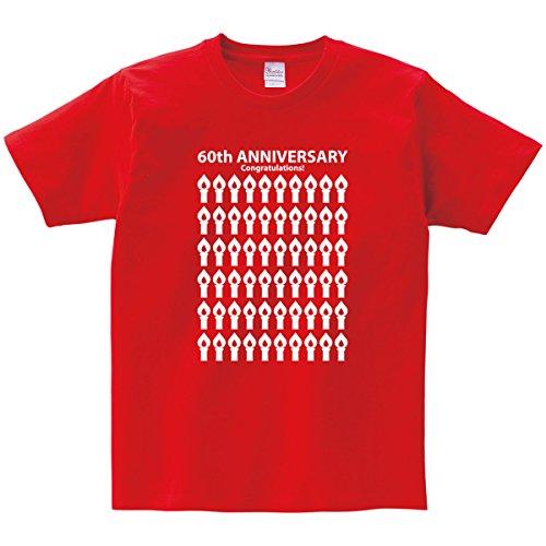 """[해외]幸服屋 씨 회갑 축하 T 셔츠 `촛불`반팔 회갑 선물 60 t 셔츠 선물 선물 MS09/Blessed shop celebration celebration T-shirt """"candle"""" short sleeve 60th birthday celebration 60 years old t-shirt gift · present MS09"""