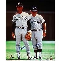 MLBニューヨークヤンキースグレイグ?ネトルズwith Yogi Berraデュアル署名Road Jersey垂直写真、6 x 20インチ