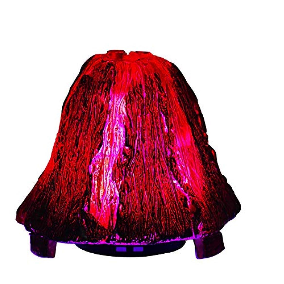 ベル慢性的礼拝オリジナリティ火山のエッセンシャルオイルディフューザー、120mlアロマセラピー超音波クールミスト加湿器、7色LEDライト付きウォーターレスオートオフ
