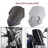 XX Ecommerce オートバイスポーツ フロントガラス ウィンドスクリーン デフレクター マウントブラケット付き 適用車種 2018-2019 Yamaha MT FZ 07 MT-07 18 19 (スモーク)