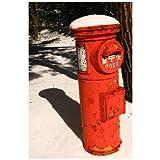 ポストカード「雪の中に立つ旧式〒ポスト」フォトカード絵葉書はがきハガキ葉書postcard