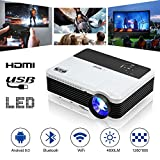Wireless WiFi Projector with Bluetooth, 4600 Lumen Support 1080P Full HD Smart Android Airplay LED Projector with Smartphone, Laptop, HDMI, USB, VGA, AV, for Home Cinema Outside Backyard Movie Gaming