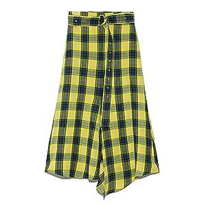 [ミラオーウェン] スカート フロントドレープ麻マキシスカート 09WFS191061 Check 日本 0 (日本サイズ7 号相当)