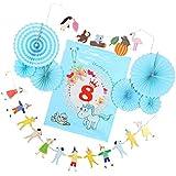 Baosity バナー ガーランド ピンホイール ファン 紙製ボンボン かわいい 数字 1~9歳 誕生日 飾り付け かわいい 全9仕様選べる  - クラウン8