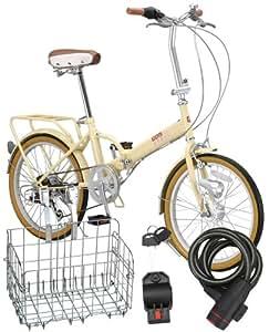 Raychell(レイチェル) MHD-206R SANYOオートライト搭載折りたたみ自転車 CP折畳みカゴ・OT-01コイルワイヤー錠 3点セット  アイボリー MHD-206R